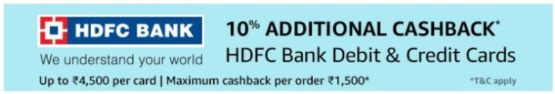 HDFC Bank Offer 10% Additional Cashback on HDFC Bank Debit and Credit Cards