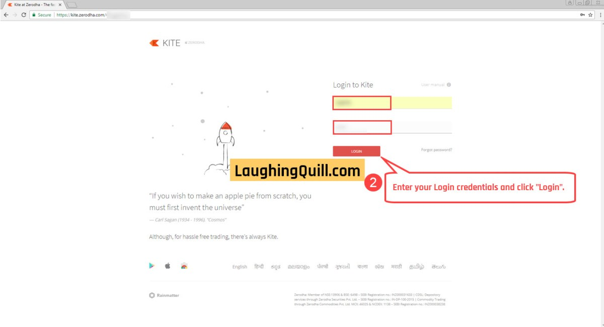 2) Enter your login credentials and click Login.