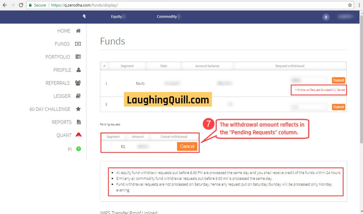 """7) You will see the message """"Withdrawal Request successfully saved"""". Also, the withdrawal amount now reflects in the """"Pending Requests"""" section. All equity funds withdrawal requests put before 8:30pm are processed the same day, and the credit is received within 24 hours. All commodity fund withdrawal requests put before 9;00pm is processed the same day. Fund withdrawal requests are not processed on Saturdays/Sundays, and hence any request put on Saturday/Sunday will be processed only Monday evening."""
