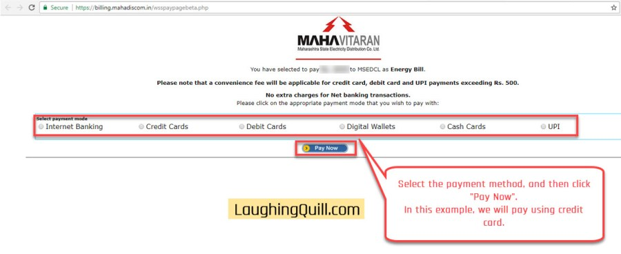 "Pay MSEB Electricity Bills Online- Step 08. Select the desired payment method, and click the ""Pay Now"" button."