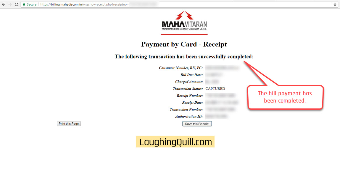Pay MSEB Electricity Bills Online- Step 14. This is the final confirmation screen that displays the payment confirmation.