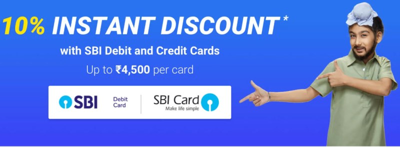10% instant discount on SBI credit and debit cards