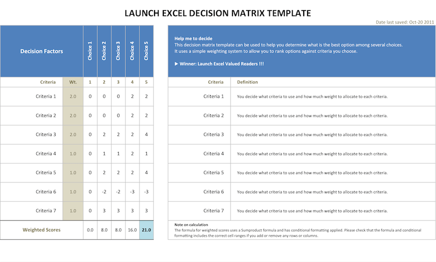 Decision matrix resources excel template launch excel for Decision matrix template free download