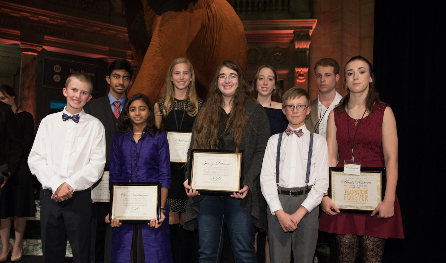 Jenaya and the other young photographers from around the world awarded in the Windland Smith Rice Awards, Audubon Awards and Yellowstone Forever competition. (Photo Credit: NBP Awards)