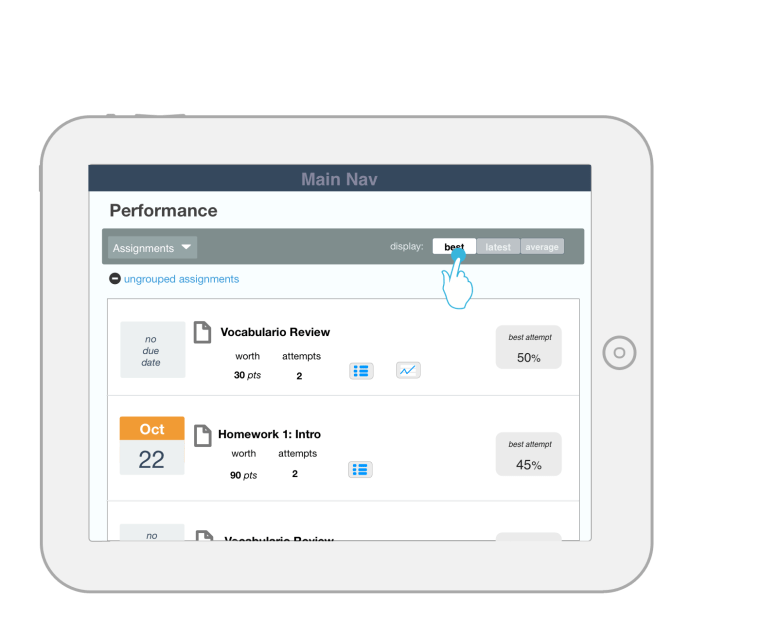 STUDENT TABLET: New Assignment Integration - Performance Report