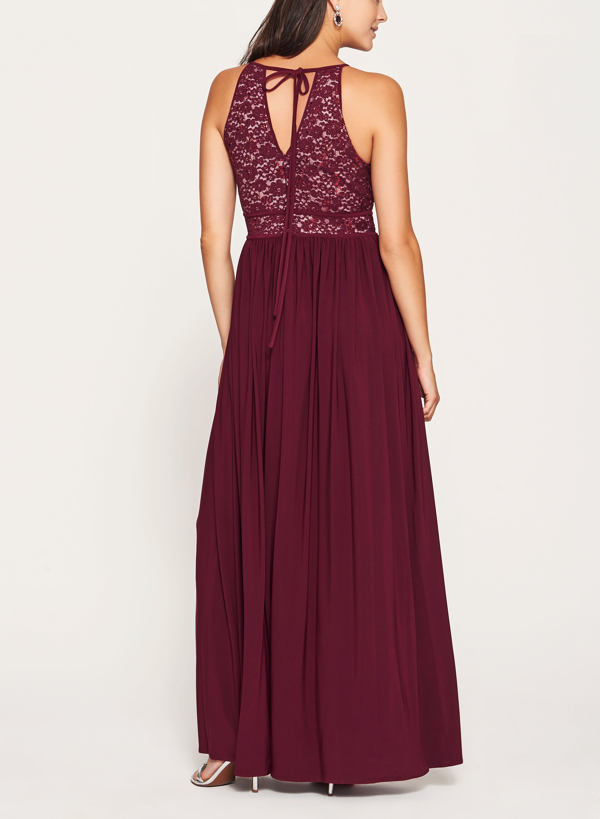 Glitter Lace And Sequin Halter Dress Laura