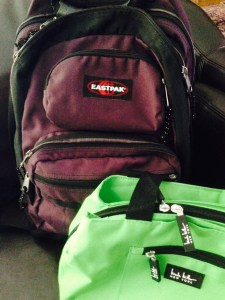 My new office gear: One geeky backpack and a lunchbox.