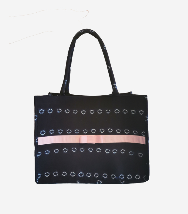 small indigo tote bag
