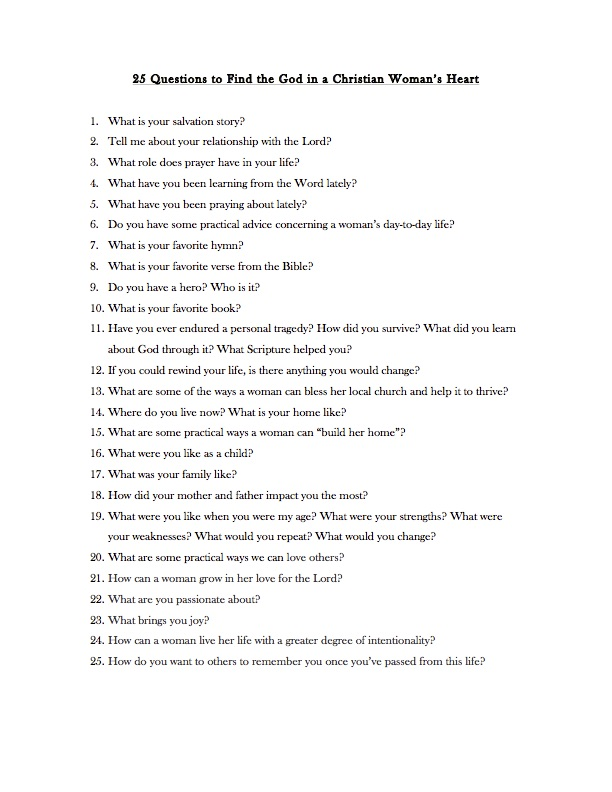 Interesting questions to ask a woman