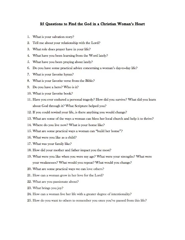 questions to ask while dating christian An annual exercise to listen to your wife's words and hear from her heart.