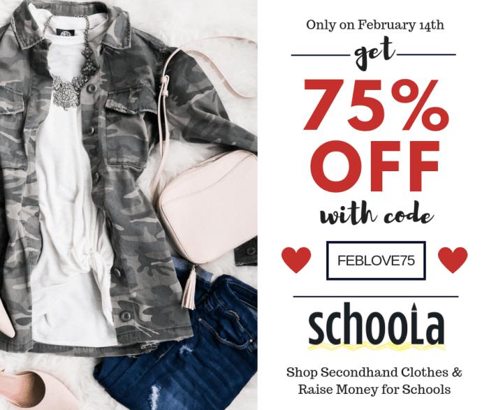 Schoola Valentines Flash Sale Discount Code 75 Percent Off