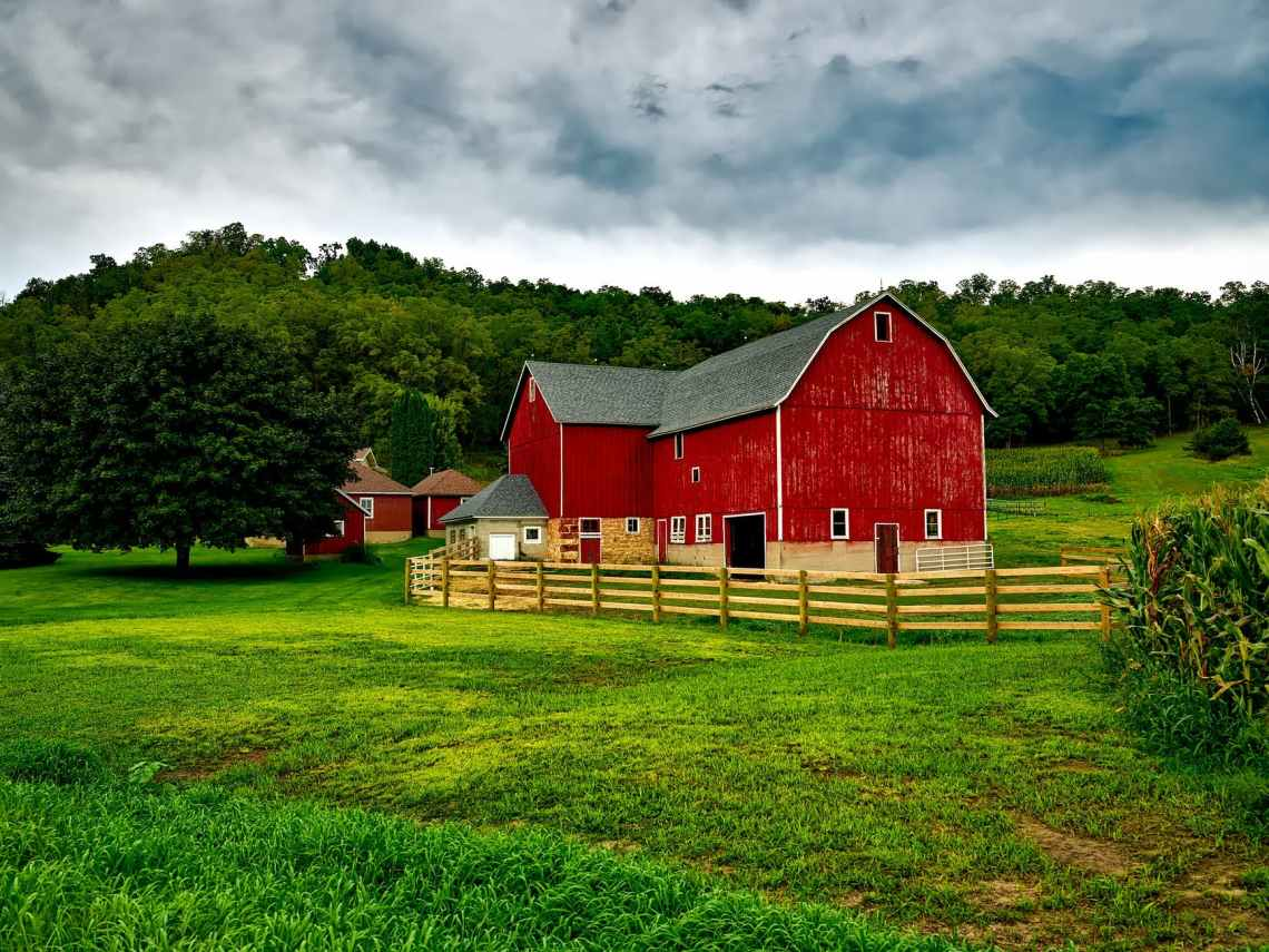 agriculture barn clouds corn