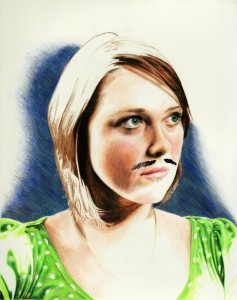 Laura with Facial Hair #3, mixed media on paper