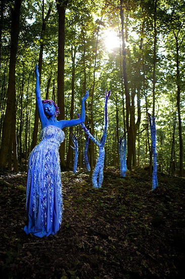 'Grow Spirit on Earth' Laüra Hollick in the Blue Forest. Sculptures, costume, concept Laüra Hollick. Hair&Makeup Mario & Cherie Pia Grassa. Photo by Kevin Thom.