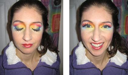 Rainbow Makeup on soul artist Laüra Hollick by Sue Upton.