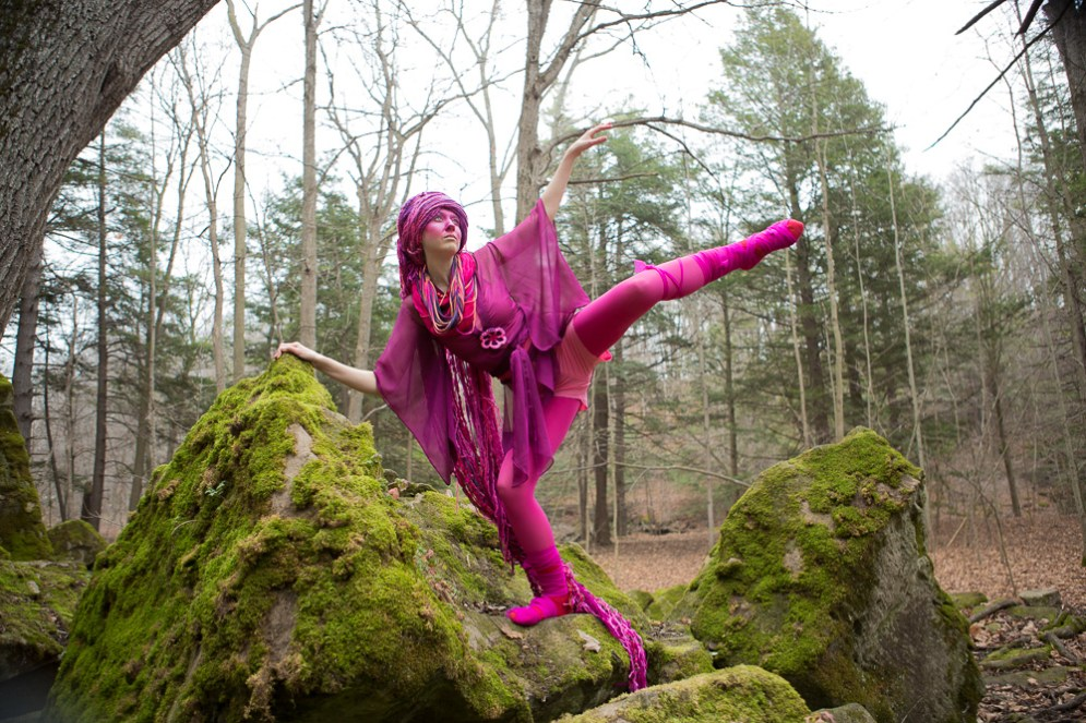 Magenta in the forest