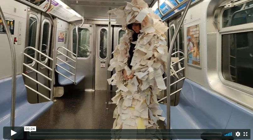Changing into Receipt Dress on the New York Subway