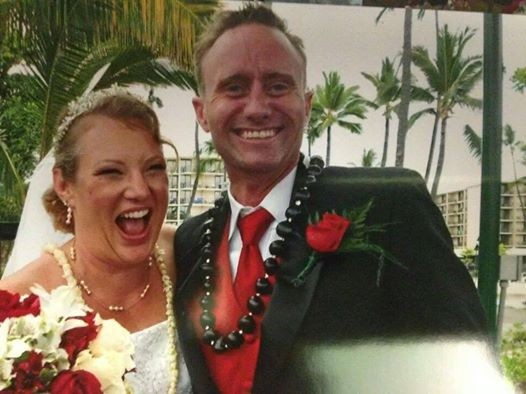 Denise and Brad on their wedding day in Kona, Hawaii.