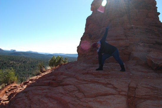 Striking a yoga pose, at the top of the Boynton Canyon trail.