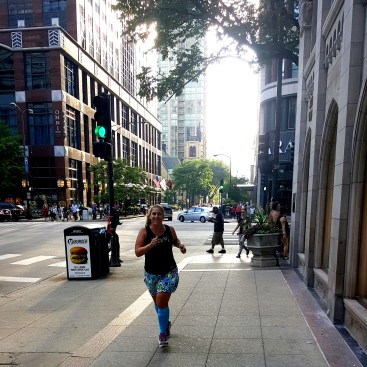Here I am, running in my Spandits in Chicago, along the Magnificent Mile, where our hotel was.