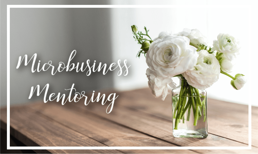 microbusiness mentoring white flowers on table