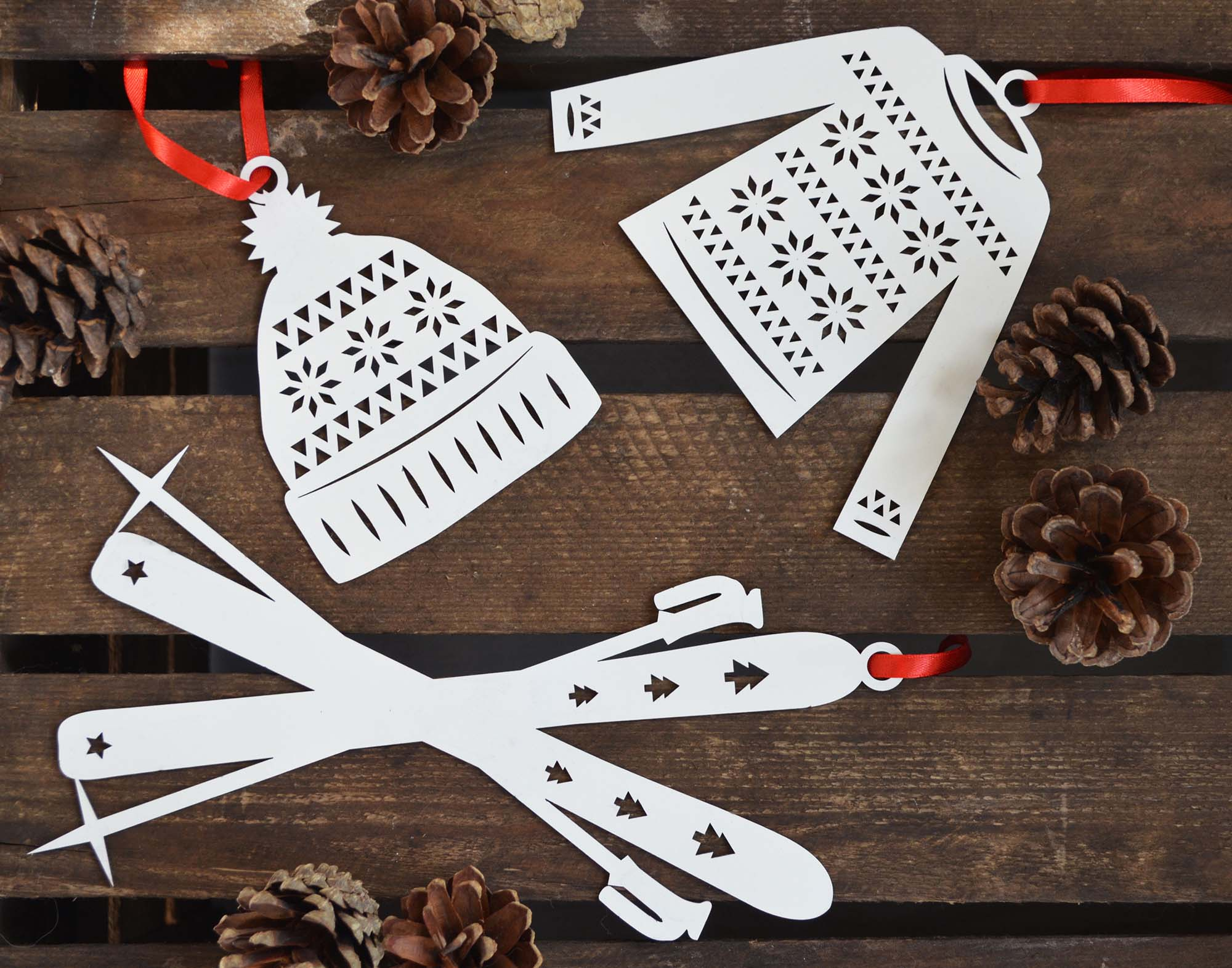 Paper Cut Laser Nordic Knits Christmas Bauble