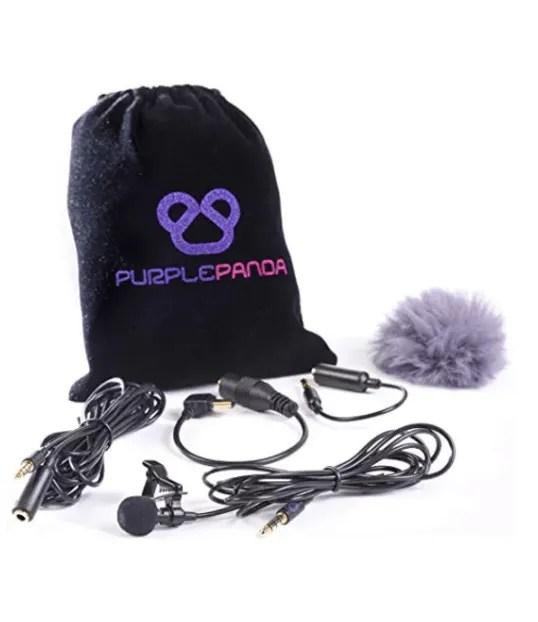 Purple Panda Lavalier Lapel Microphone Kit