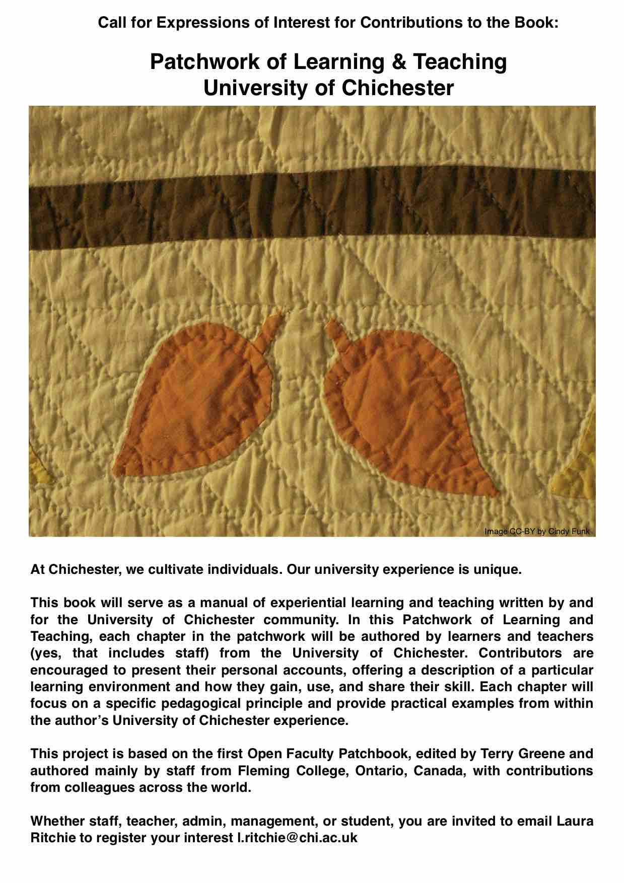 expressions of interest open new book patchwork of learning