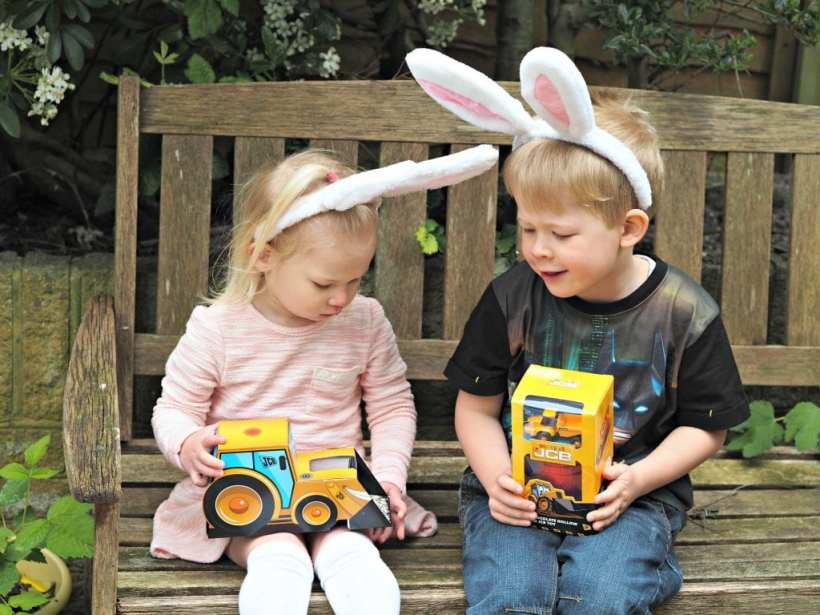 Easter with JCB Kids - Aria and Logan with their JCB Easter Egg