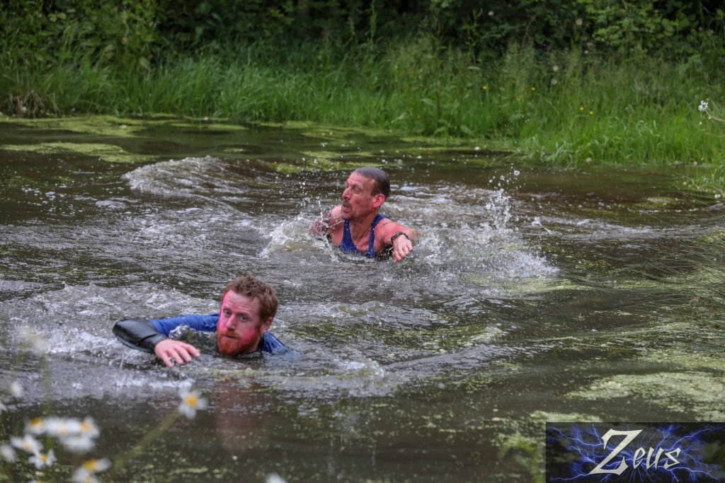 Ben swimming at Zeus obstacle race