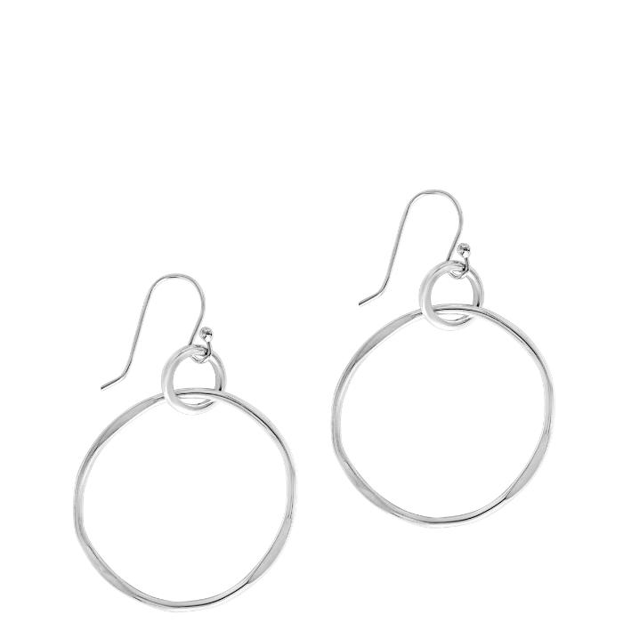 Small sterlinig silver hammered hoop earrings