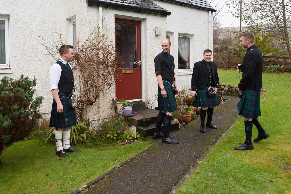 Groomsmen laughing during the prep Isle of Skye Wedding