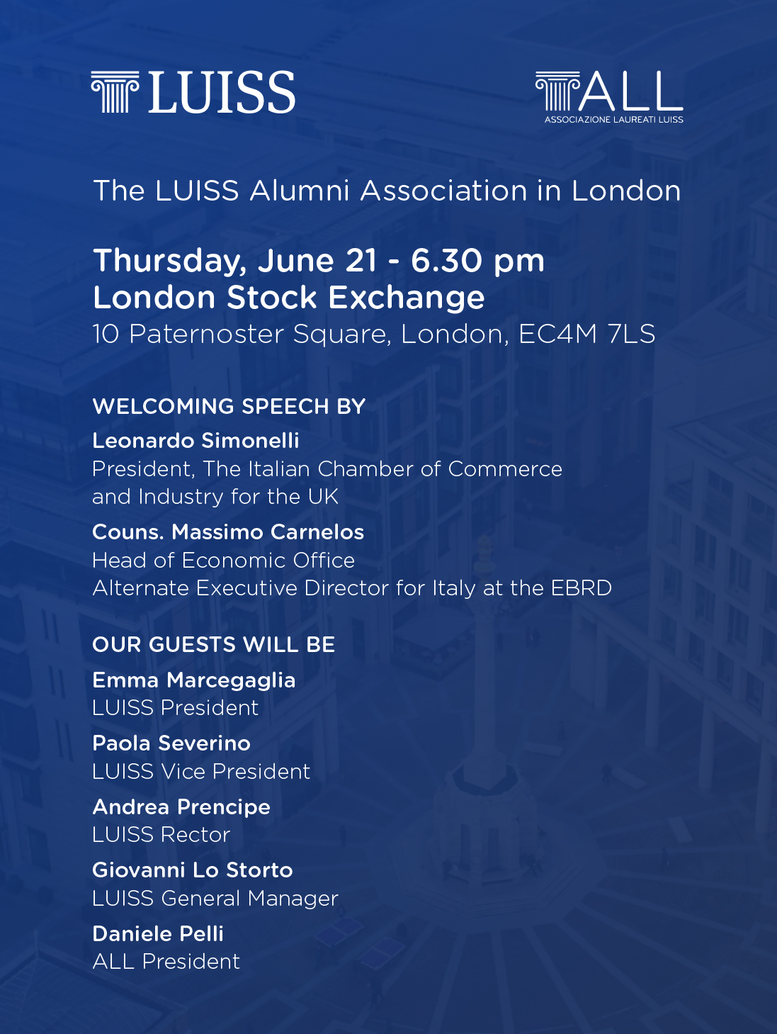 ALL London: networking cocktail – Luiss Associazione Laureati