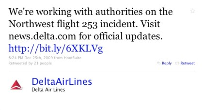 Delta 12/25 Tweet