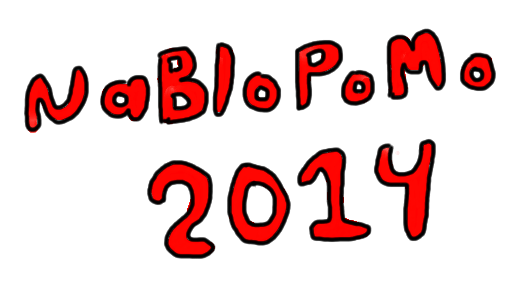 "texts that reads ""NaBloPoMo 2014"""