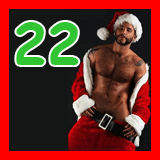 santa with his pants falling down and the number 22