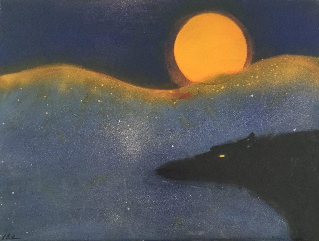 "Painting by Laurel Landers titled ""Black Wolf Moon"""