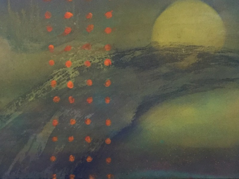 "Painting by Laurel Landers titled ""Thought Wave"""