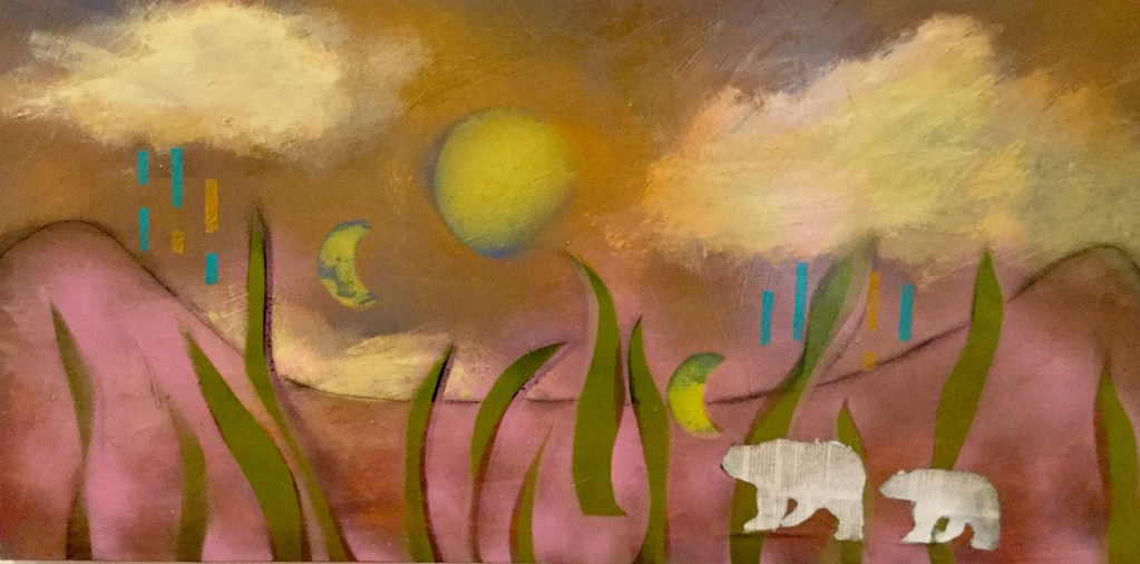 """Painting by Laurel Landers titled """"Last One to Leave the Planet Please Turn Off the Lights"""""""