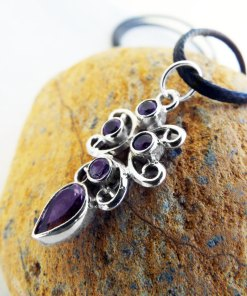Amethyst Pendant Silver Gemstone Handmade Necklace Sterling 925 Gothic Dark Vintage Antique Jewelry