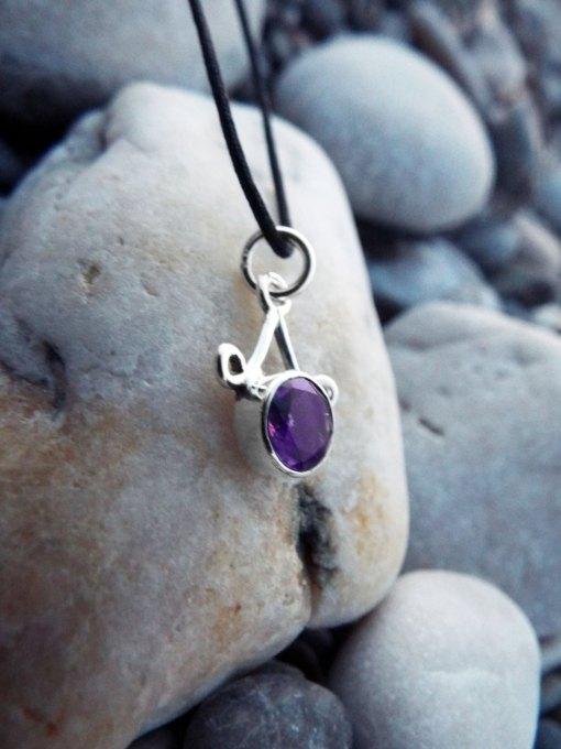 Amethyst Pendant Silver Handmade Sterling 925 Necklace Protection Jewelry Boho Antique Style