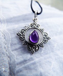 Amethyst Pendant Silver Handmade Sterling 925 Necklace Protection Jewelry Boho Antique Style Filigree