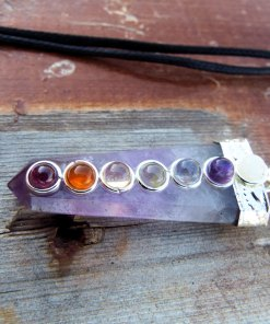 Amethyst Pendulum Chakra Pendant Silver Necklace Handmade Gemstone Pointer Gothic Magic Dark Wicca Jewelry