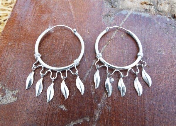 Bali Hoop Earrings Silver Balinese Sterling Dangle 925