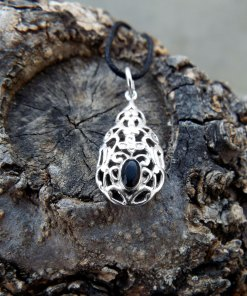 Black Onyx Pendant Silver Necklace Handmade Sterling 925 Antique Vintage Filigree Gothic Dark Jewelry