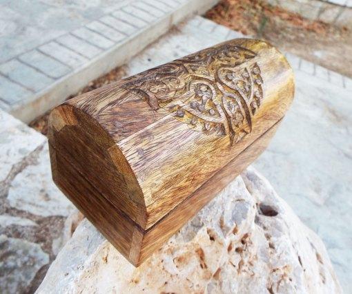 Box Cross Wooden Crucifix Celtic Mango Tree Jewelry Knot Handmade Symbol Carved Eco Friendly Home Decor Trinket