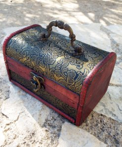 Box Vintage Floral Leaves Handmade Wooden Genuine Leather Treasure Chest Jewelry Trinket Antique Vintage Gothic