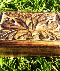 Box Wooden Flower Jewelry Carved Handmade Home Decor Indian Floral Mango Tree Wood Trinket Leaf Treasure Chest Eco Friendly