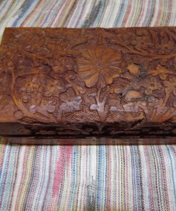 Box Wooden Jewelry Carved Handmade Balinese Home Decor Indian Floral Trinket Velvet Treasure 12Chest