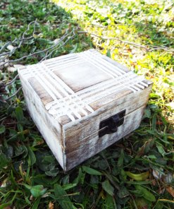 Box Wooden Jewelry Geometric Carved Handmade Antique Vintage Home Decor Mango Tree Wood Trinket Treasure Chest Eco Friendly